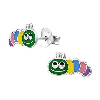 Children's Sterling Silver Caterpillar Stud Earrings