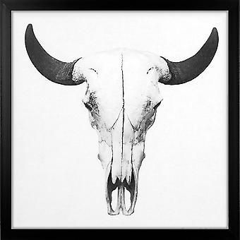 Grindstore bison Skull store indrammet lærred print