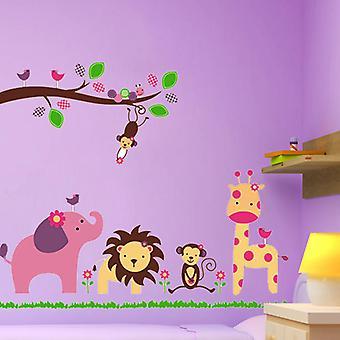Seinä koriste-viidakko eläimet 90 x 120 cm