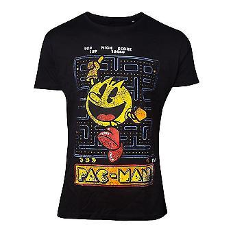 Pac Man Mens T-Shirt Retro Game Look Cotton Male Black X-Large (TS030400PAC-XL)