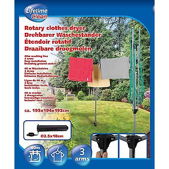 Rotary washing line 40m 3arms  Clean Dryer Metal strong
