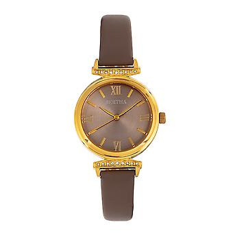 Bertha Jasmine nahka-Band Watch-harmaa