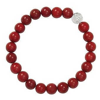 Eternal Collection debytantti Red Coral Semi Precious helmillä Hopea sävy Stretch ranne koru