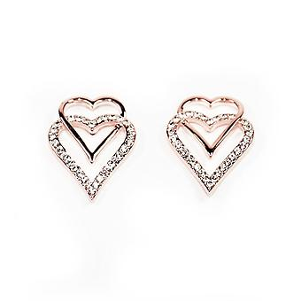 VIP Rose Gold Plated Double Heart Crystal Set Stud Earrings