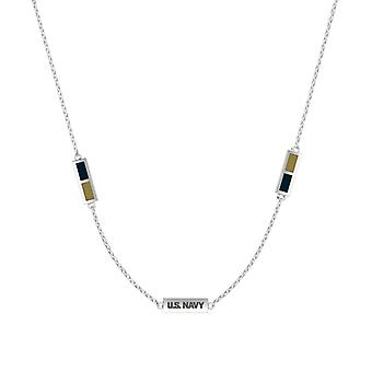 U.S. Navy Sterling Silver Engraved Triple Station Necklace In Blue and Brown