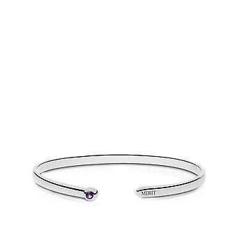 The Purple Heart Foundation Engraved Sterling Silver Amethyst Cuff Bracelet