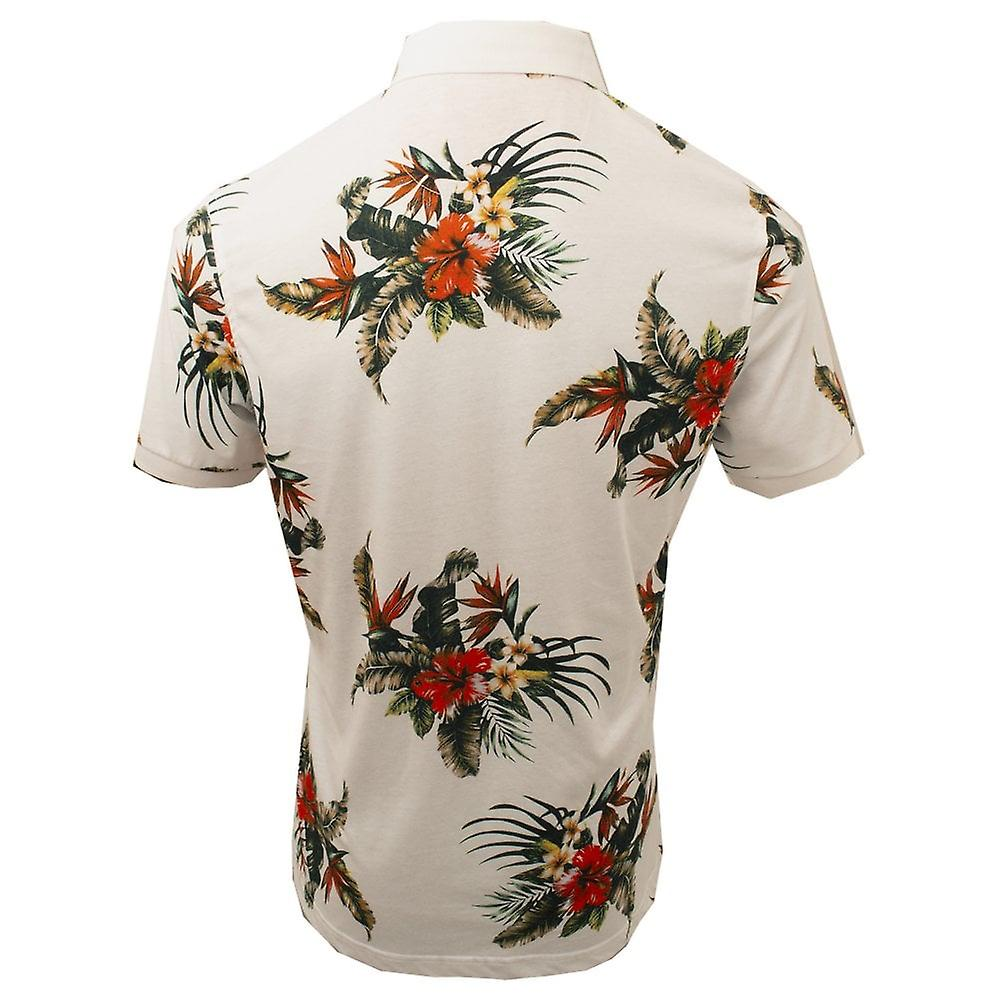 Claudio Lugli Tropical Flower White Pure Cotton Polo Mens T-Shirt