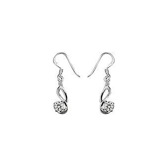 Eternity Sterling Silver Cubic Zirconia Double Wave Drop Boucles d'oreilles