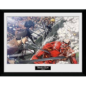 Attack on Titan Fight Scene Framed Collector Print 40x30cm