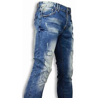 Jeans - Slim Fit Damaged Look Stitched - Blue