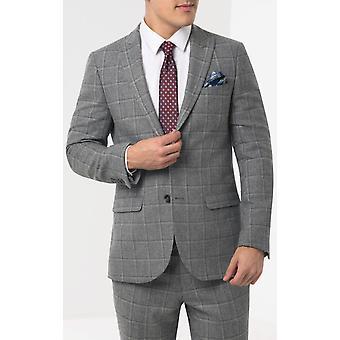 Dobell mens grijs tweed pak jas regular fit piek revers Windowpane controleren