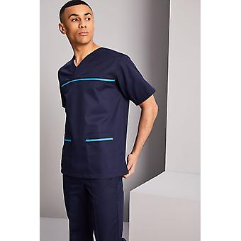 SIMON JERSEY Men's Pull On Scrub Top - Navy With Teal Trim