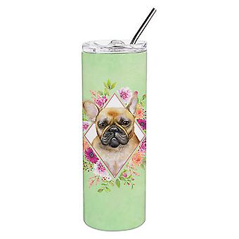 Fawn French Bulldog Green Flowers Double Walled Stainless Steel 20 oz Skinny Tum