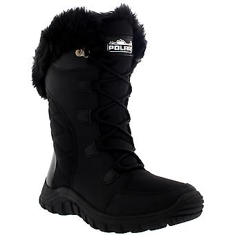 Womens Quilted Lace Up Black Outdoor Fur Lined Cuff Snow Rain Duck Boot UK 3-10