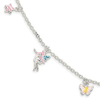 925 Sterling Silver for boys or girls Enameled Star Fairy Butterfly Angel Wings With 1.5inch Ext. Bracelet 5.5 Inch