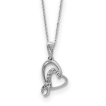 925 Sterling Silver Polished Gift Boxed Spring Ring Rhodium plated CZ Cubic Zirconia Simulated Diamond Necklace 18 Inch