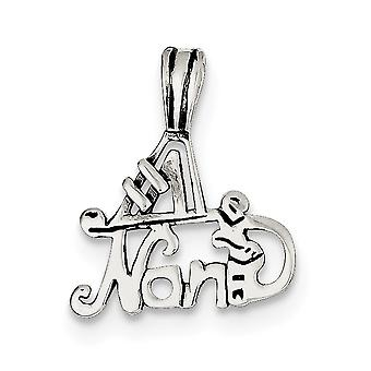 925 Sterling Silver Flat Solid Polished finish Sparkle Cut Number 1 Nana Pendant Necklace Jewelry Gifts for Women