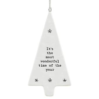 East of India Christmas Porcelain Tree Gift 'It's the most wonderful time of the year'