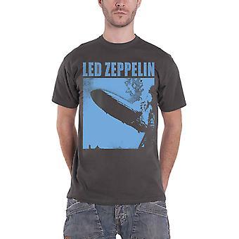 Led Zeppelin T Shirt Zepp 1 Album Blue Cover Band Logo Official Mens Charcoal