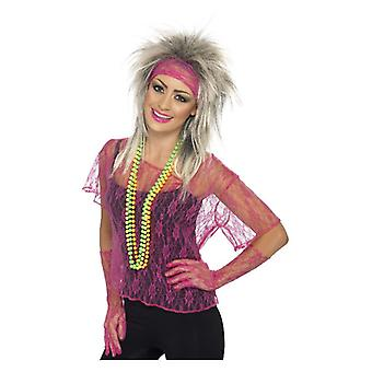 Womens 80s Lace Net Vest, Gloves & Headband  Fancy Dress Accessory