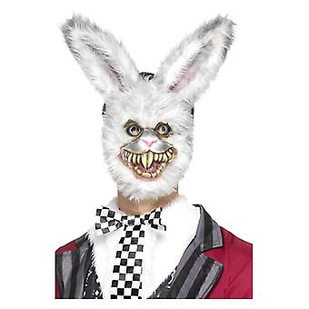 Mens White Rabbit Mask Fancy Dress Accessory