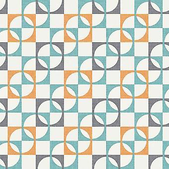 Rétro Geometric Wallpaper Tiles Squares Circles Orange Charcoal Sarcelle White Rasch