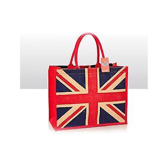 Union Jack Wear Union Jack Jute Shopping Bag Red Handle