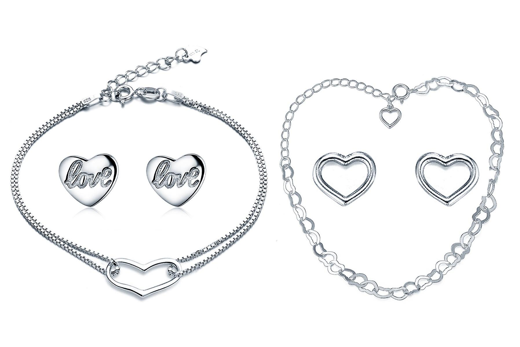 Set Of 2 925 Silver Heart Bracelet With Studs