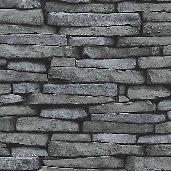 Preto e prata ardósia efeito de pedra wallpaper Fine decor FD31291