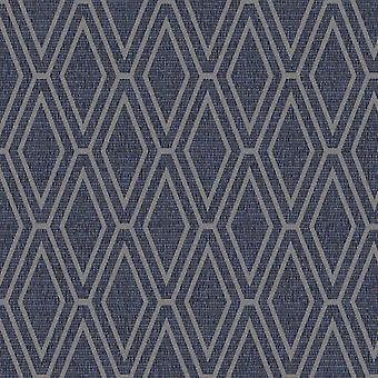 Opulento shimmer Diamond geométrica wallpaper-azul e prata-Holden decor 65381