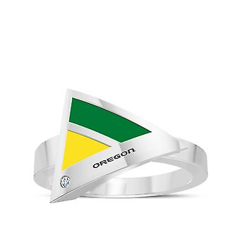 University Of Oregon Engraved Sterling Silver Diamond Geometric Ring In Green and Yellow