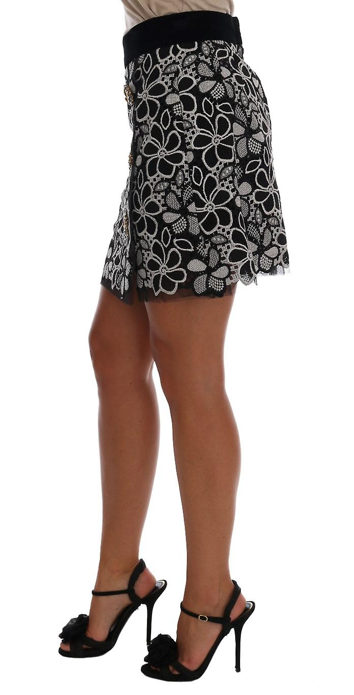 Floral Macrame Lace Crystal Button Skirt