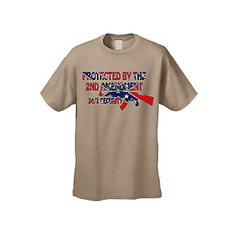 Men's Confederate Rebel Flag T Shirt Protected By The 2nd Amendment Short Sleeve