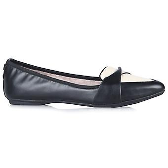Butterfly Twists Rebecca Ladies Pointed Flat Shoes Cream/black