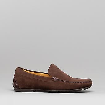 Steptronic Dustin Mens Suede Driving Shoes Brown