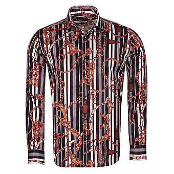 Oscar Banks Striped And Chain Printed Mens Shirt