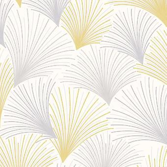 Gatsby Fan Yellow Wallpaper Silver Grey Glitter Vinyl Grandeco