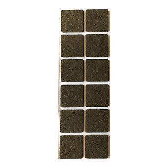 Brown feutre Disc Square 3,5 cm (12 pièces)