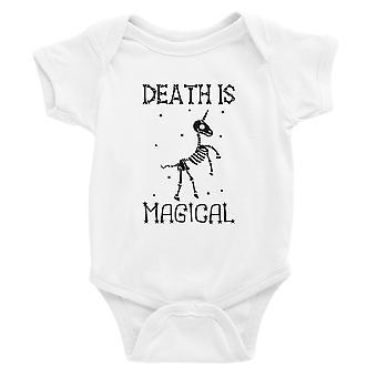 Death is Megical Unicorn Skeleton Funny Halloween Baby Bodysuit Gift White
