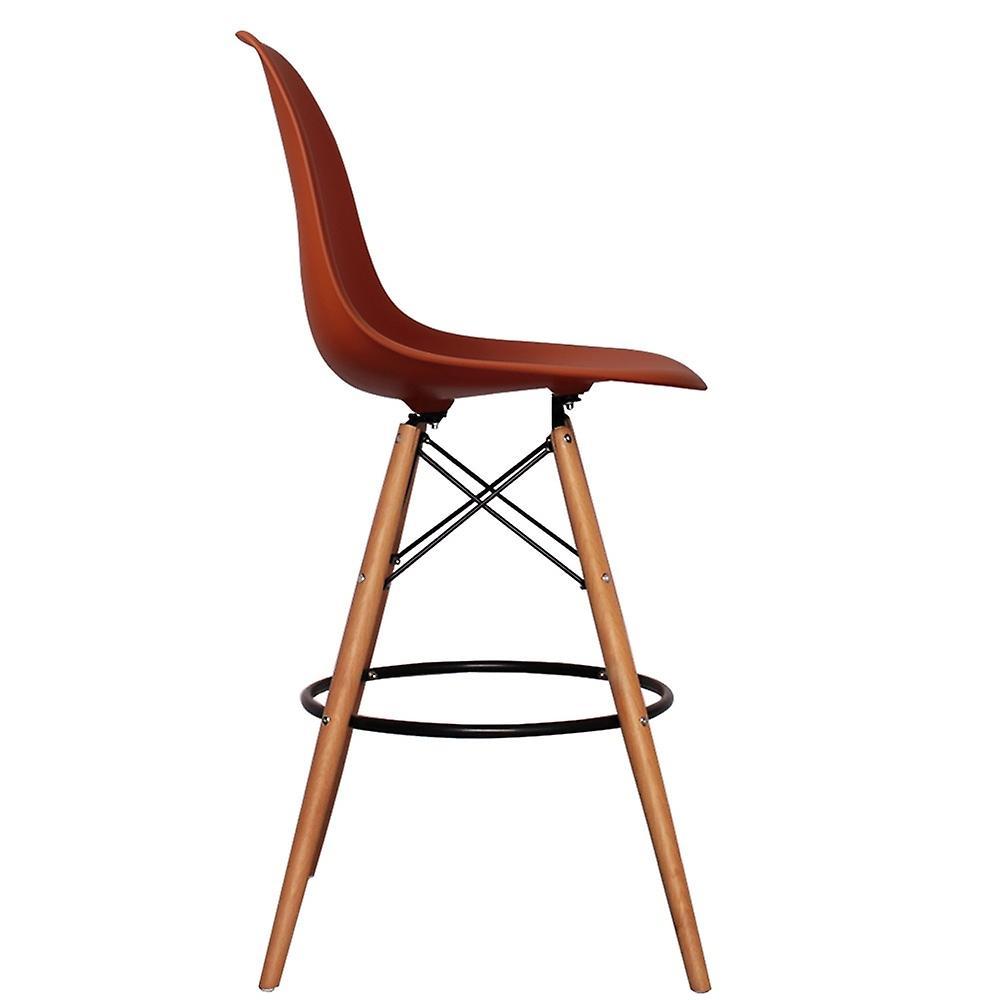 Tabouret de barre en plastique rouge de brique de Charles Eames de modèle