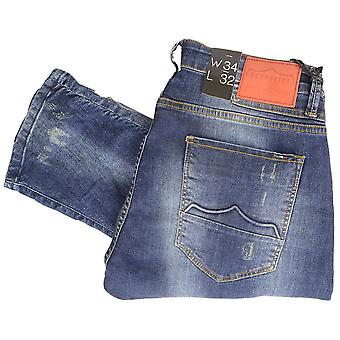 883 Police Hazard Dark Navy Engineered Patched Slim Fit Jeans