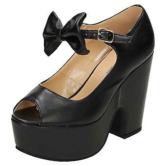 Koi Footwear Chunky Platform High Heel Peep Toe Shoes Black Faux Leather