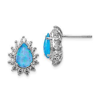Cheryl M 925 Sterling Silver Cubic Zirconia och Lab Simulerad Blå Opal Stud Örhängen Mäter 14.23x1 Smycken Gåvor för