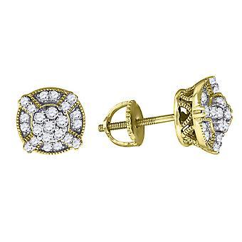 925 Sterling Ezüst Férfi Sárga hang CZ Cubic Cirkónia szimulált Gyémánt kerek stud fülbevaló ékszer ajándékok férfiaknak