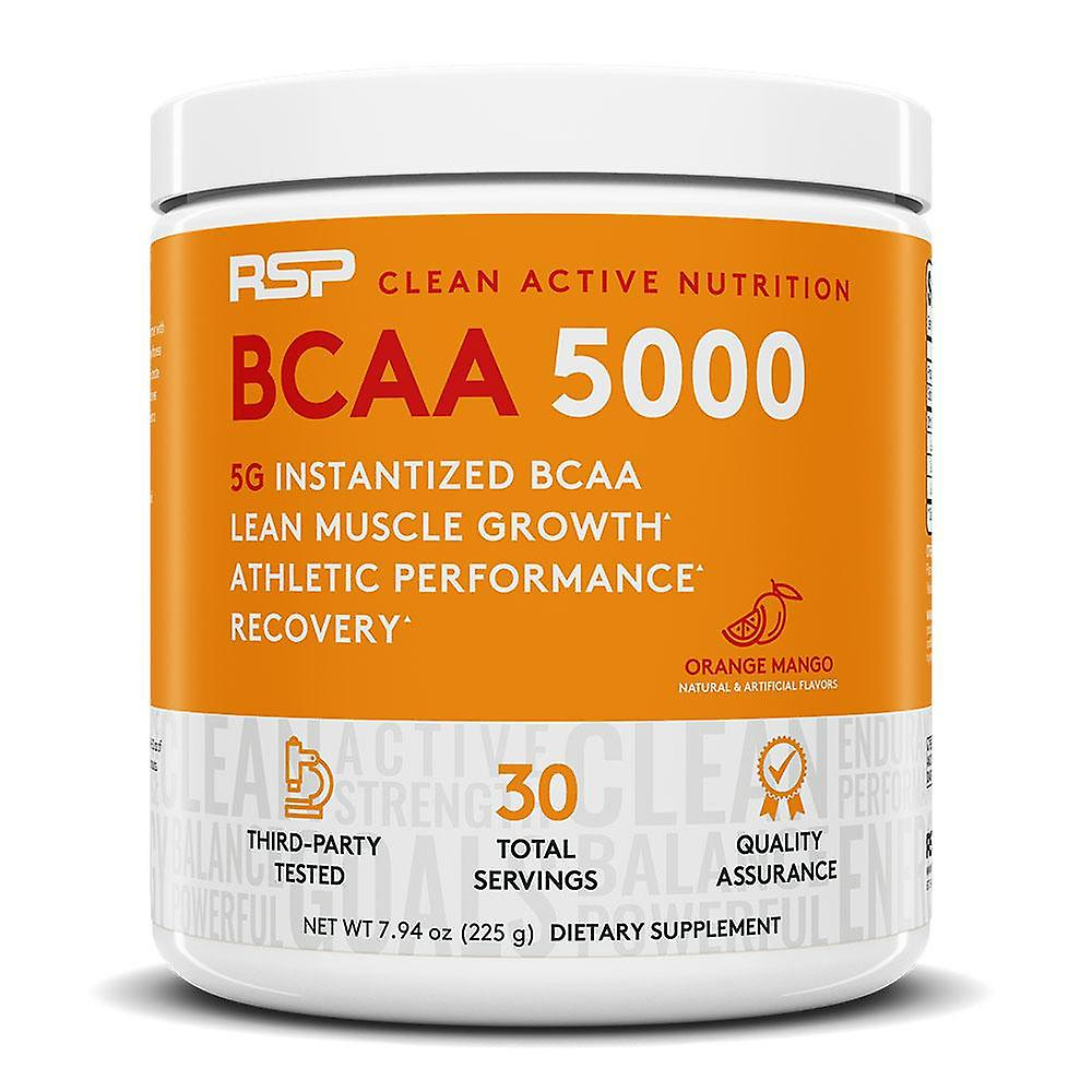 Rsp bcaa 5000, lean muscle growth, endurance, muscle recovery, bcaa powder (orange mango, 30 servings)