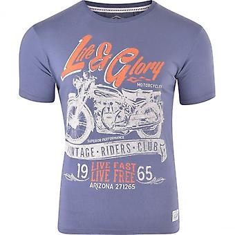 Life and Glory Life And Glory Mens Designer Graphic Motorcycle Motorbike T Shirt Logo Print Casual Tee