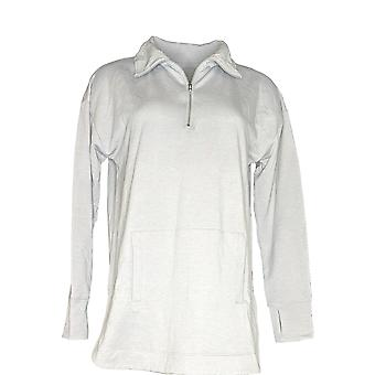 Cuddl Duds Women's Sweater Comfortwear Half Zip Pullover Gray A310292