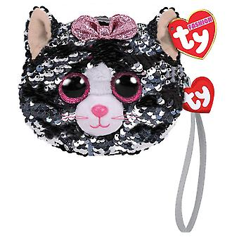 TY Flippable Sequins Kiki Cat Wristlet