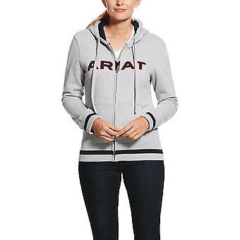 Ariat Womens Logo Full Zip Hoodie - Heather Grey Echipa
