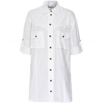 Ganni Button Through Cotton Poplin Shirt